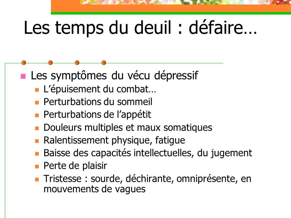 Les temps du deuil : défaire… Les symptômes du vécu dépressif L'épuisement du combat… Perturbations du sommeil Perturbations de l'appétit Douleurs mul