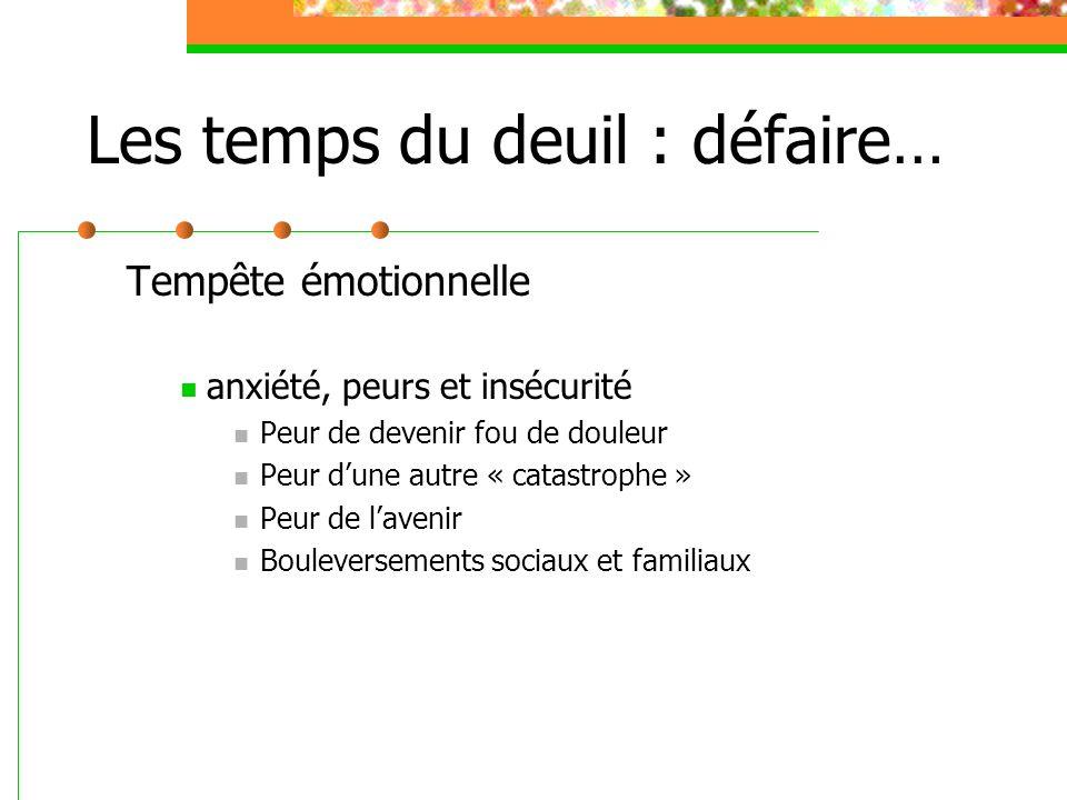Les temps du deuil : défaire… Tempête émotionnelle anxiété, peurs et insécurité Peur de devenir fou de douleur Peur d'une autre « catastrophe » Peur d