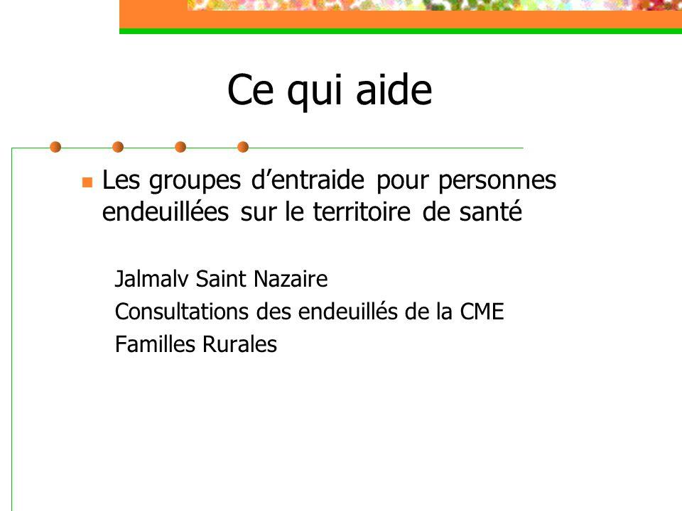 Ce qui aide Les groupes d'entraide pour personnes endeuillées sur le territoire de santé Jalmalv Saint Nazaire Consultations des endeuillés de la CME