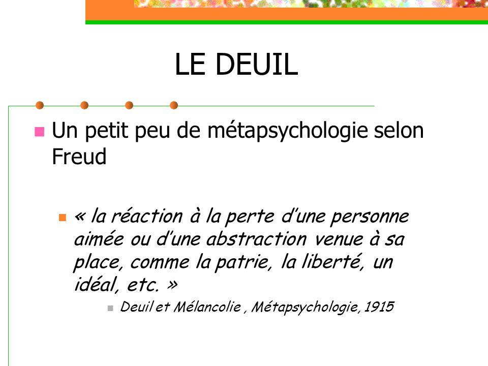 LE DEUIL Un petit peu de métapsychologie selon Freud Il est aussi très remarquable qu'il ne nous vienne jamais à l'idée de considérer le deuil comme un état morbide et de le confier au médecin pour traitement, bien qu'il comporte de graves écarts par rapport au comportement de vie normale.
