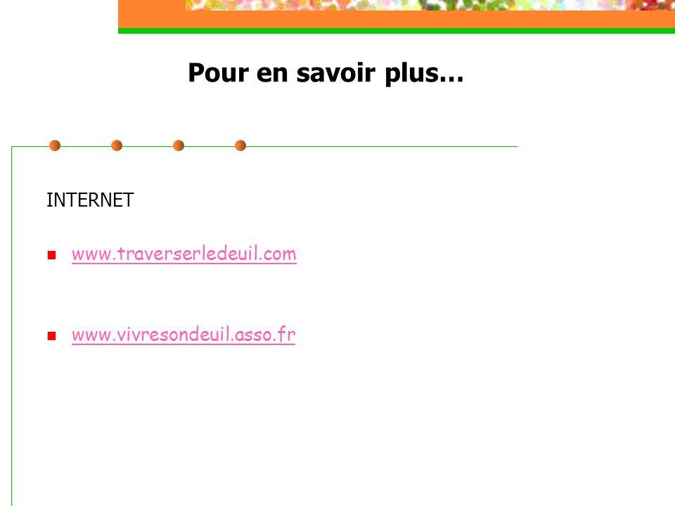 Pour en savoir plus… INTERNET www.traverserledeuil.com www.vivresondeuil.asso.fr