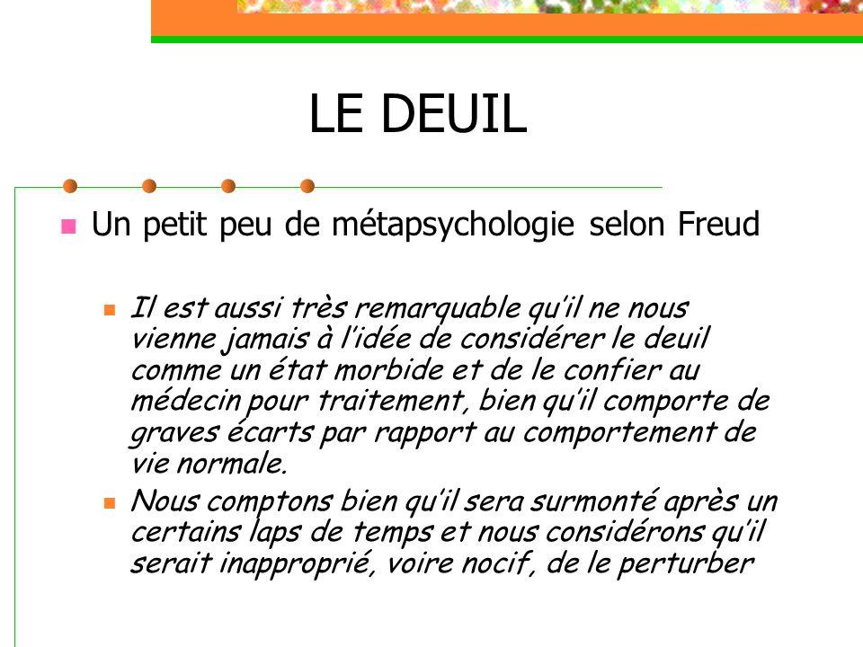 LE DEUIL Un petit peu de métapsychologie selon Freud Il est aussi très remarquable qu'il ne nous vienne jamais à l'idée de considérer le deuil comme u