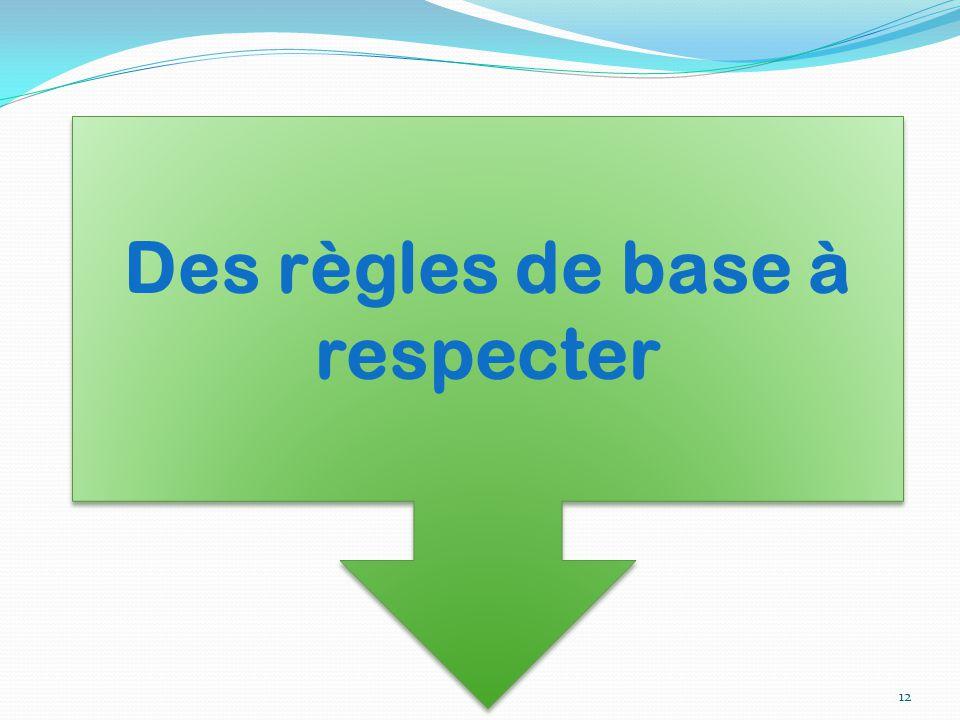 Des règles de base à respecter 12