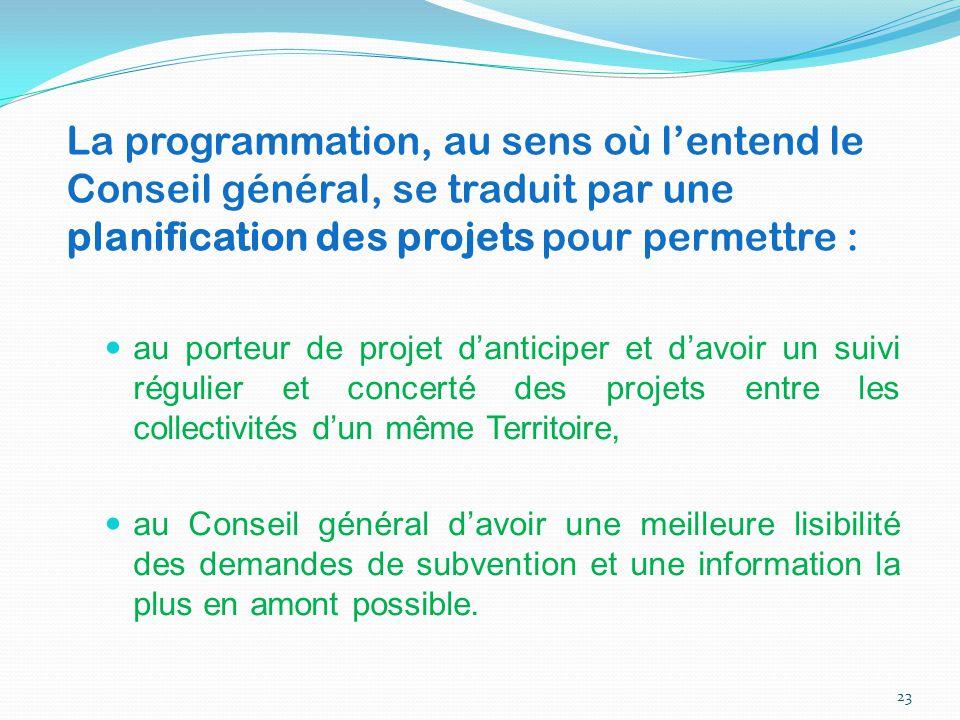 au porteur de projet d'anticiper et d'avoir un suivi régulier et concerté des projets entre les collectivités d'un même Territoire, au Conseil général