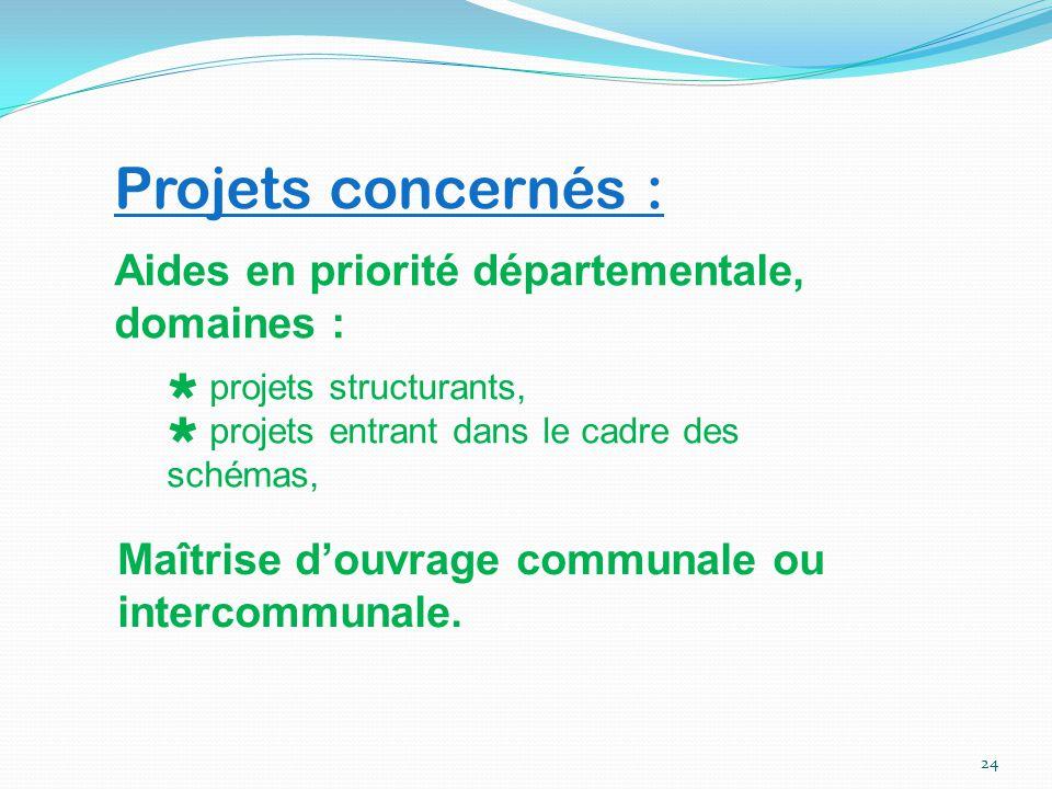 24 Projets concernés : Aides en priorité départementale, domaines :  projets structurants,  projets entrant dans le cadre des schémas, Maîtrise d'ou