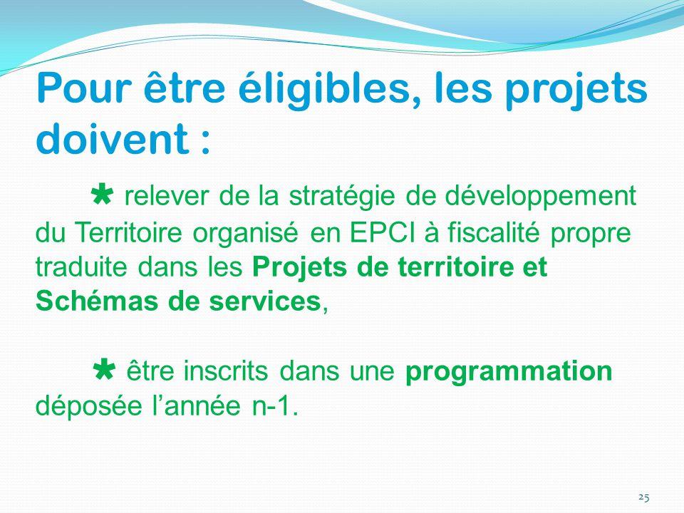 Pour être éligibles, les projets doivent :  relever de la stratégie de développement du Territoire organisé en EPCI à fiscalité propre traduite dans
