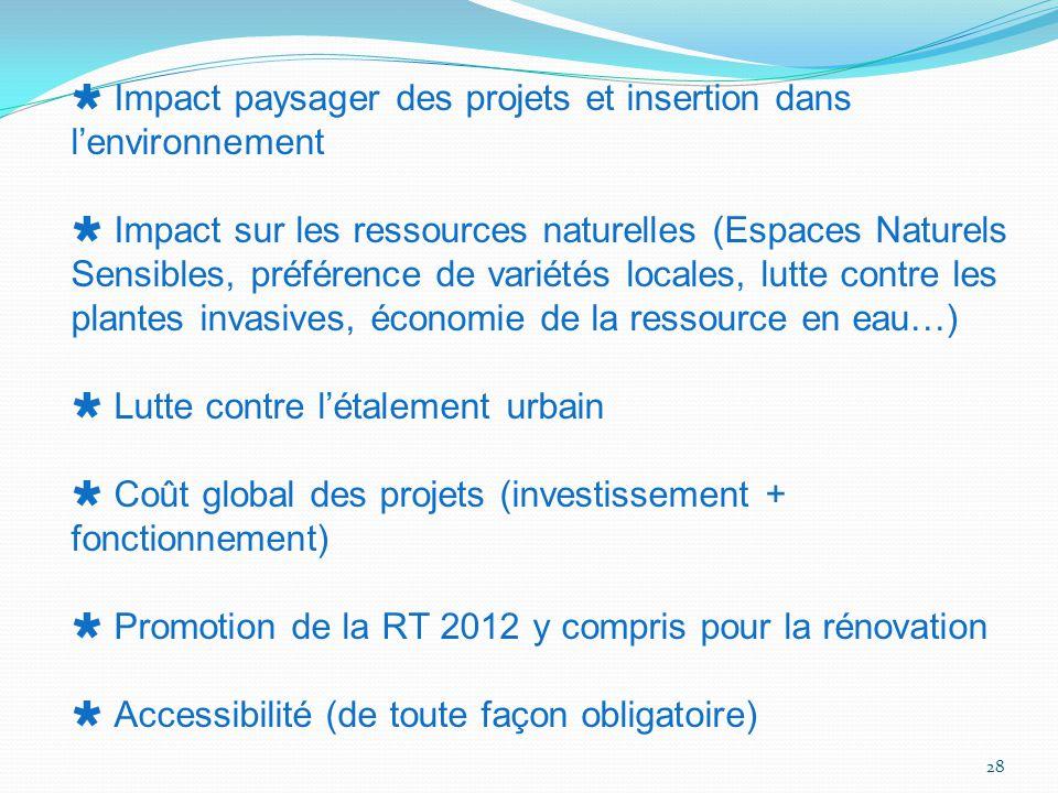28  Impact paysager des projets et insertion dans l'environnement  Impact sur les ressources naturelles (Espaces Naturels Sensibles, préférence de v