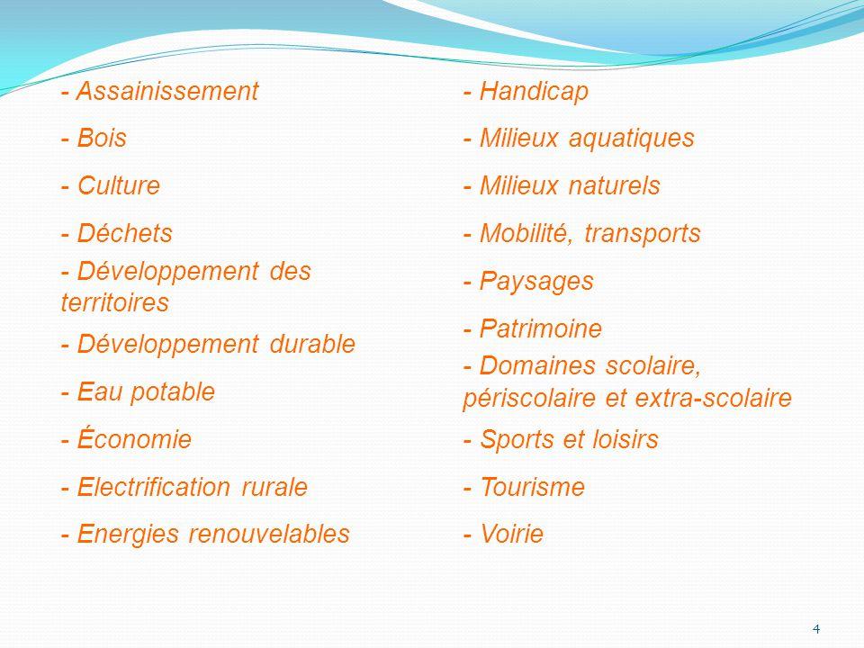 - Assainissement - Bois - Culture - Déchets - Développement des territoires - Développement durable - Eau potable - Économie - Electrification rurale