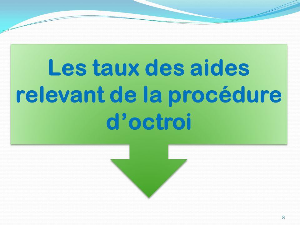 8 Les taux des aides relevant de la procédure d'octroi