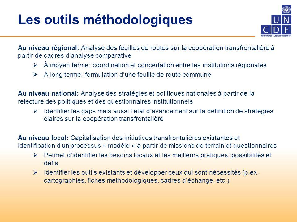 Les outils méthodologiques Au niveau régional: Analyse des feuilles de routes sur la coopération transfrontalière à partir de cadres d'analyse compara