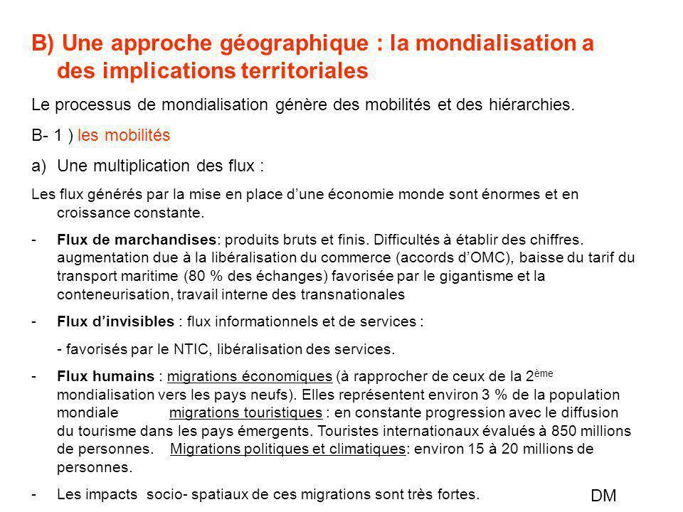 B) Une approche géographique : la mondialisation a des implications territoriales Le processus de mondialisation génère des mobilités et des hiérarchi