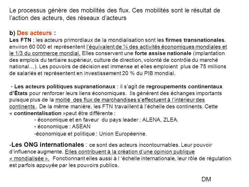 Le processus génère des mobilités des flux. Ces mobilités sont le résultat de l'action des acteurs, des réseaux d'acteurs b) Des acteurs : Les FTN : l