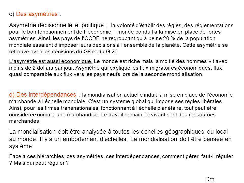 c) Des asymétries : Asymétrie décisionnelle et politique : la volonté d'établir des règles, des réglementations pour le bon fonctionnement de l' écono