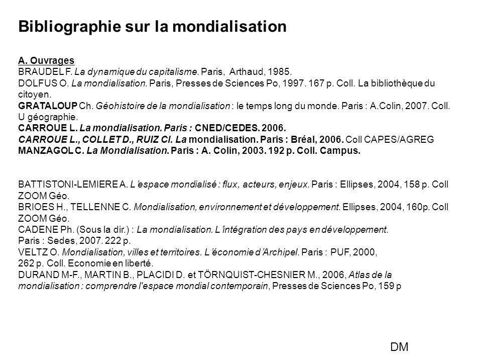 Bibliographie sur la mondialisation A. Ouvrages BRAUDEL F. La dynamique du capitalisme. Paris, Arthaud, 1985. DOLFUS O. La mondialisation. Paris, Pres