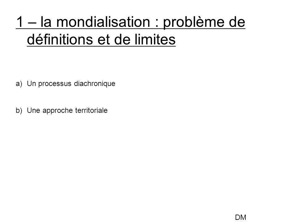 1 – la mondialisation : problème de définitions et de limites a)Un processus diachronique b)Une approche territoriale DM