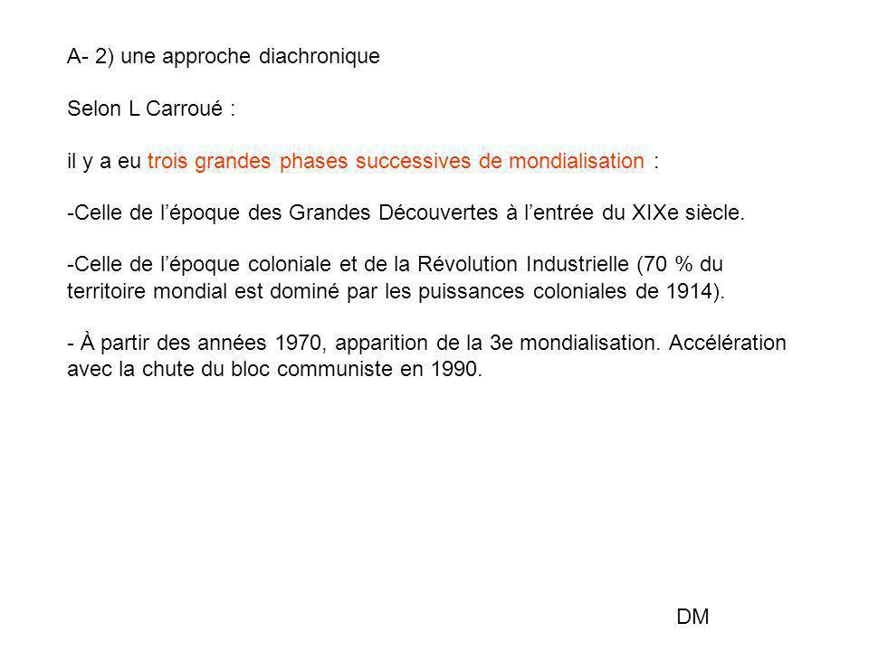 A- 2) une approche diachronique Selon L Carroué : il y a eu trois grandes phases successives de mondialisation : -Celle de l'époque des Grandes Découv