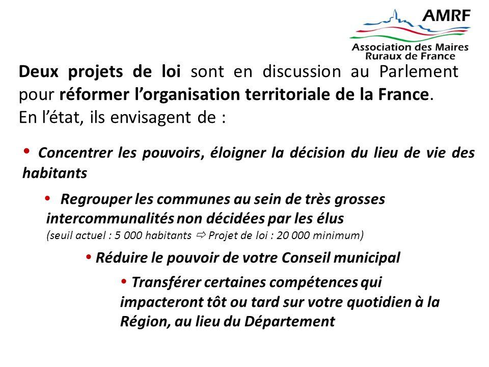 Deux projets de loi sont en discussion au Parlement pour réformer l'organisation territoriale de la France. En l'état, ils envisagent de :  Concentre