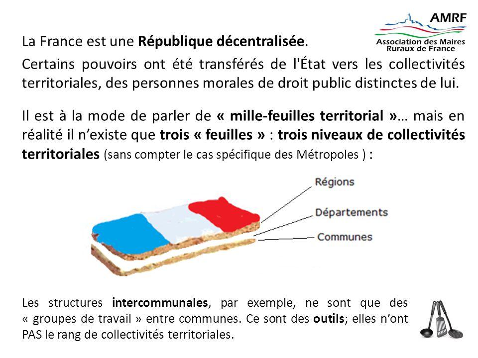 La France est une République décentralisée. Certains pouvoirs ont été transférés de l'État vers les collectivités territoriales, des personnes morales