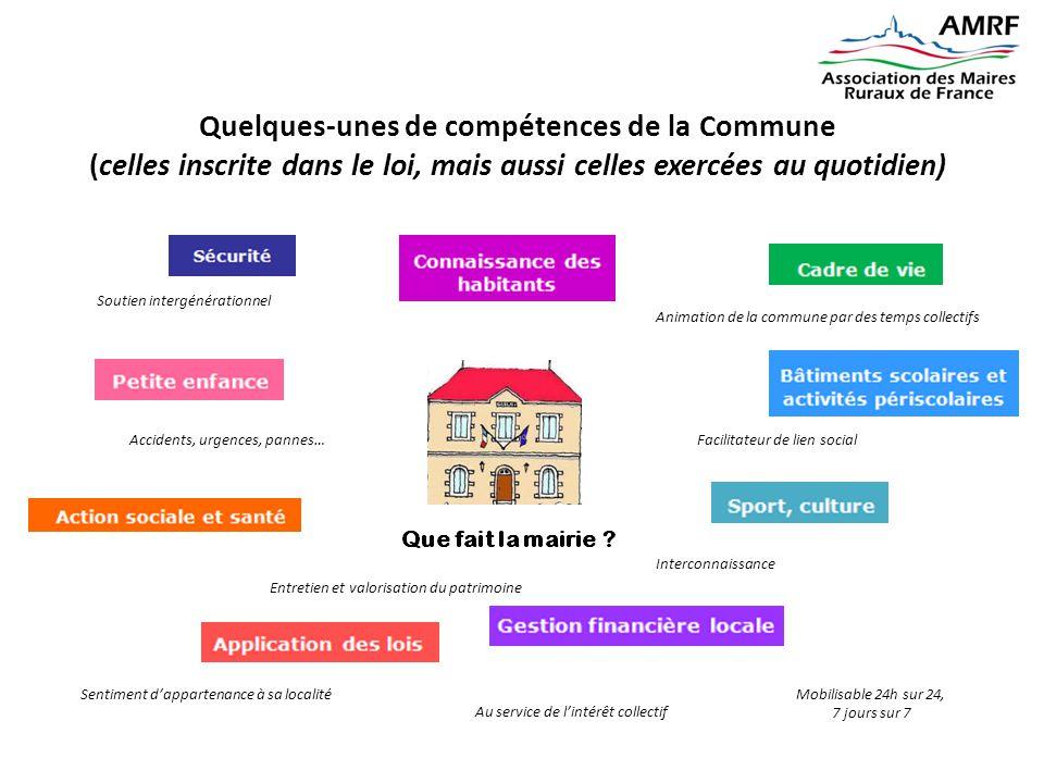 Quelques-unes de compétences de la Commune (celles inscrite dans le loi, mais aussi celles exercées au quotidien) Mobilisable 24h sur 24, 7 jours sur