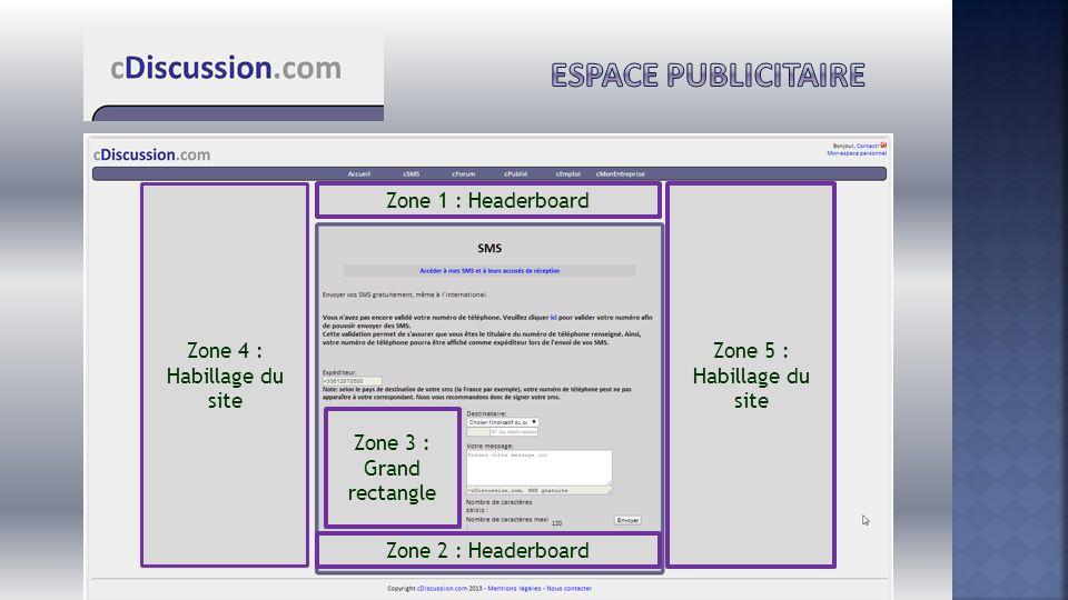 Zone 1 : Headerboard Zone 4 : Habillage du site Zone 5 : Habillage du site Zone 2 : Headerboard Zone 3 : Grand rectangle