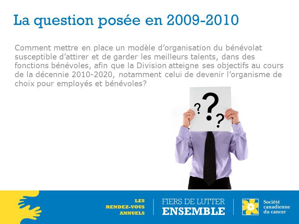 La question posée en 2009-2010 Comment mettre en place un modèle d'organisation du bénévolat susceptible d'attirer et de garder les meilleurs talents,