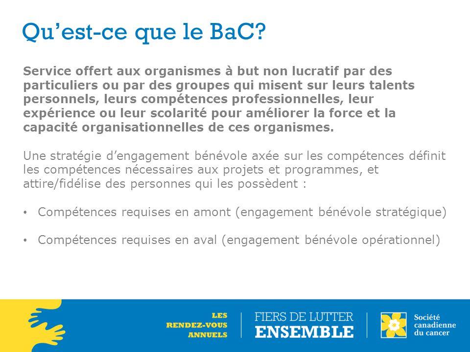 Qu'est-ce que le BaC? Service offert aux organismes à but non lucratif par des particuliers ou par des groupes qui misent sur leurs talents personnels