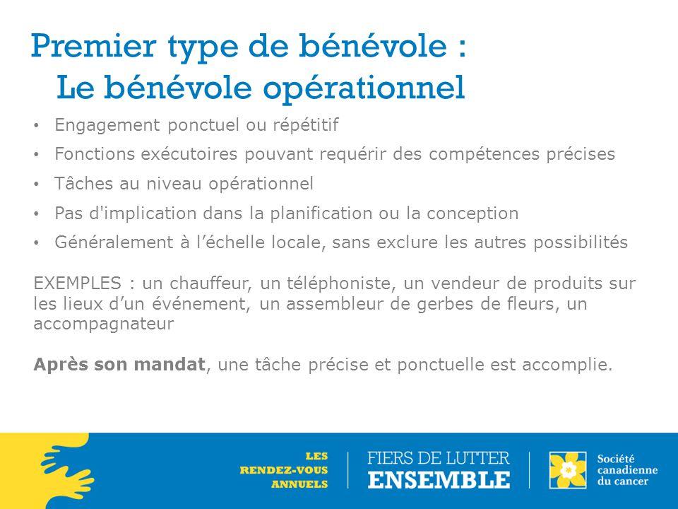 Premier type de bénévole : Le bénévole opérationnel Engagement ponctuel ou répétitif Fonctions exécutoires pouvant requérir des compétences précises T