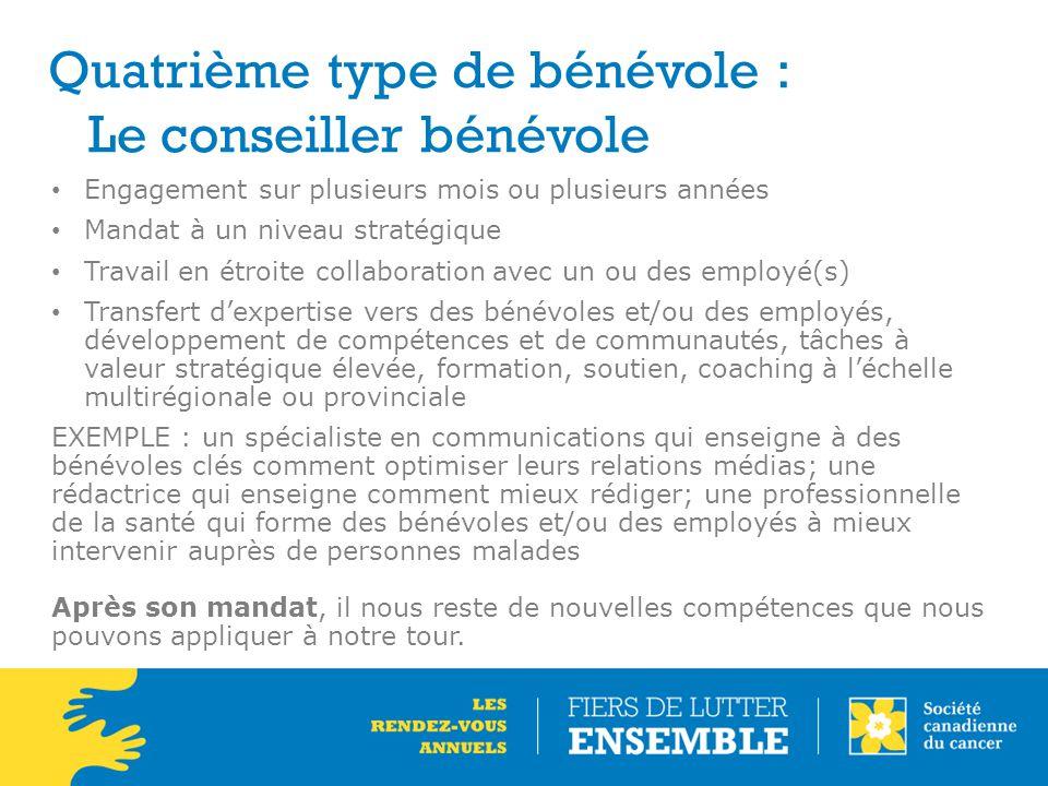 Quatrième type de bénévole : Le conseiller bénévole Engagement sur plusieurs mois ou plusieurs années Mandat à un niveau stratégique Travail en étroit