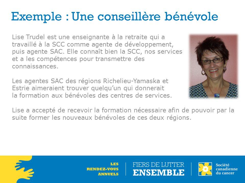 Exemple : Une conseillère bénévole Lise Trudel est une enseignante à la retraite qui a travaillé à la SCC comme agente de développement, puis agente S