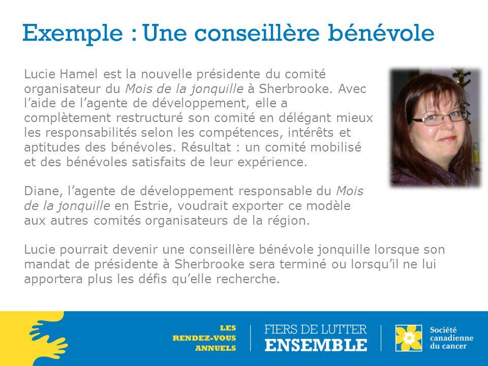 Exemple : Une conseillère bénévole Lucie Hamel est la nouvelle présidente du comité organisateur du Mois de la jonquille à Sherbrooke. Avec l'aide de