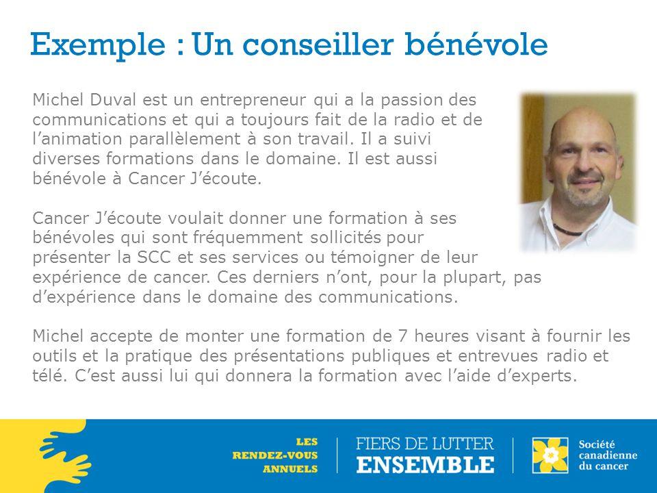 Exemple : Un conseiller bénévole Michel Duval est un entrepreneur qui a la passion des communications et qui a toujours fait de la radio et de l'anima