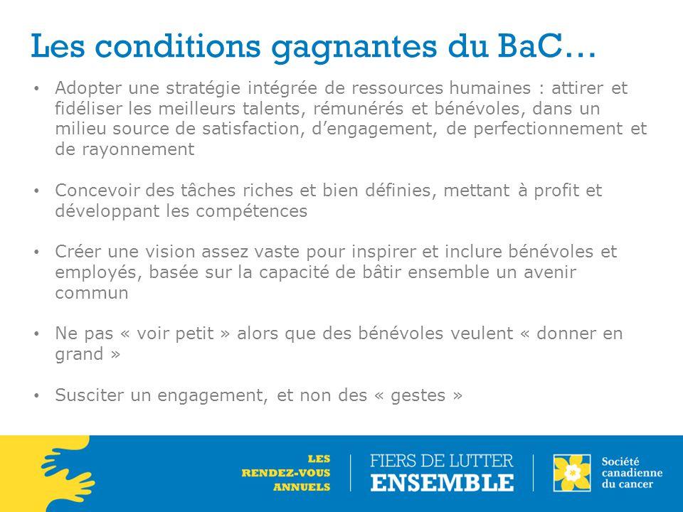 Les conditions gagnantes du BaC… Adopter une stratégie intégrée de ressources humaines : attirer et fidéliser les meilleurs talents, rémunérés et béné