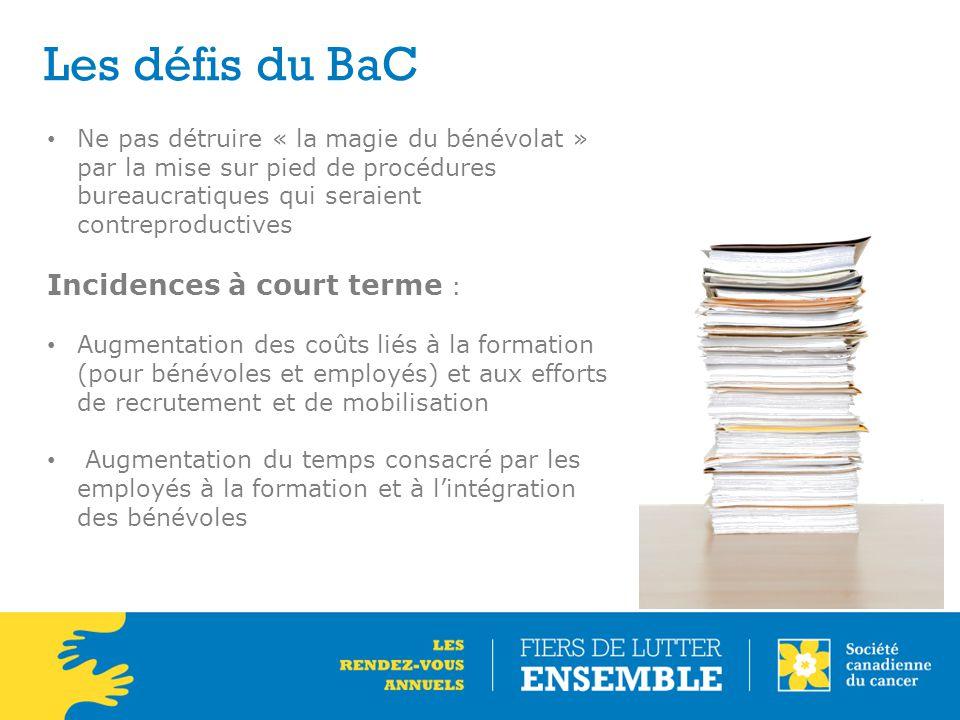 Les défis du BaC Ne pas détruire « la magie du bénévolat » par la mise sur pied de procédures bureaucratiques qui seraient contreproductives Incidence