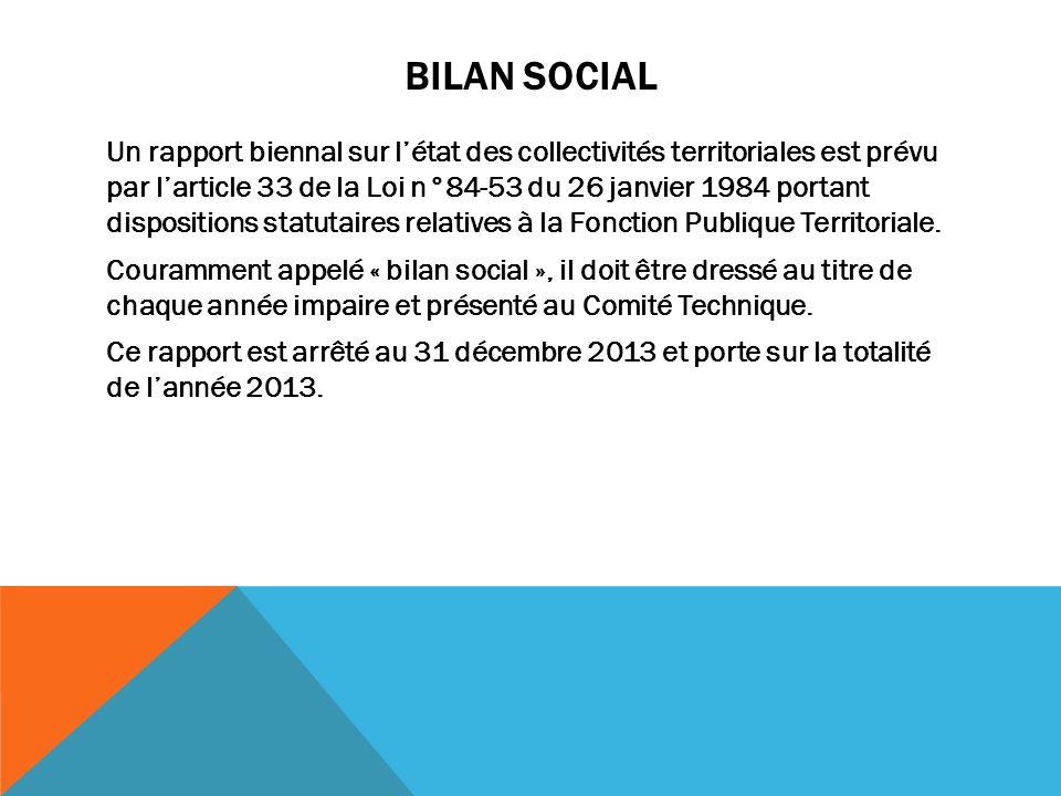 BILAN SOCIAL Un rapport biennal sur l'état des collectivités territoriales est prévu par l'article 33 de la Loi n°84-53 du 26 janvier 1984 portant dis