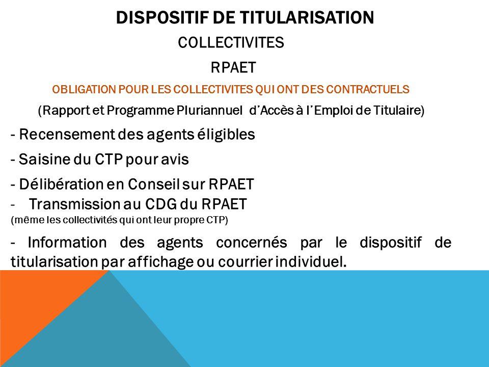 DISPOSITIF DE TITULARISATION COLLECTIVITES RPAET OBLIGATION POUR LES COLLECTIVITES QUI ONT DES CONTRACTUELS (Rapport et Programme Pluriannuel d'Accès