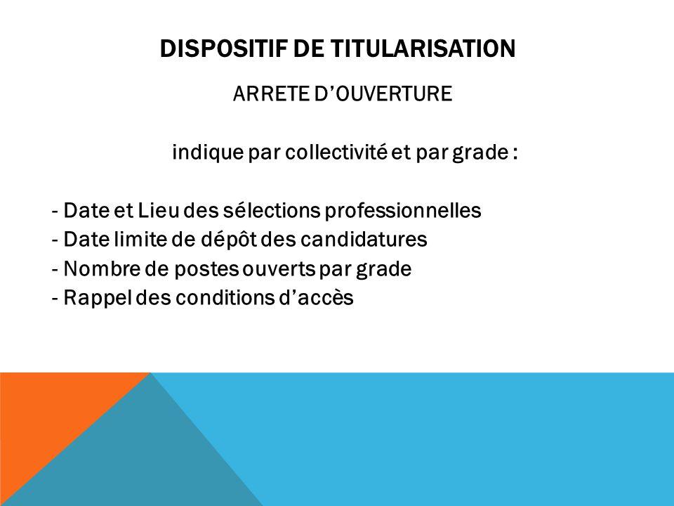 DISPOSITIF DE TITULARISATION ARRETE D'OUVERTURE indique par collectivité et par grade : - Date et Lieu des sélections professionnelles - Date limite d
