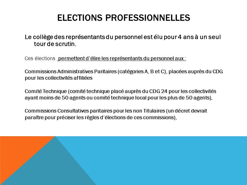 ELECTIONS PROFESSIONNELLES Le collège des représentants du personnel est élu pour 4 ans à un seul tour de scrutin. Ces élections permettent d'élire le