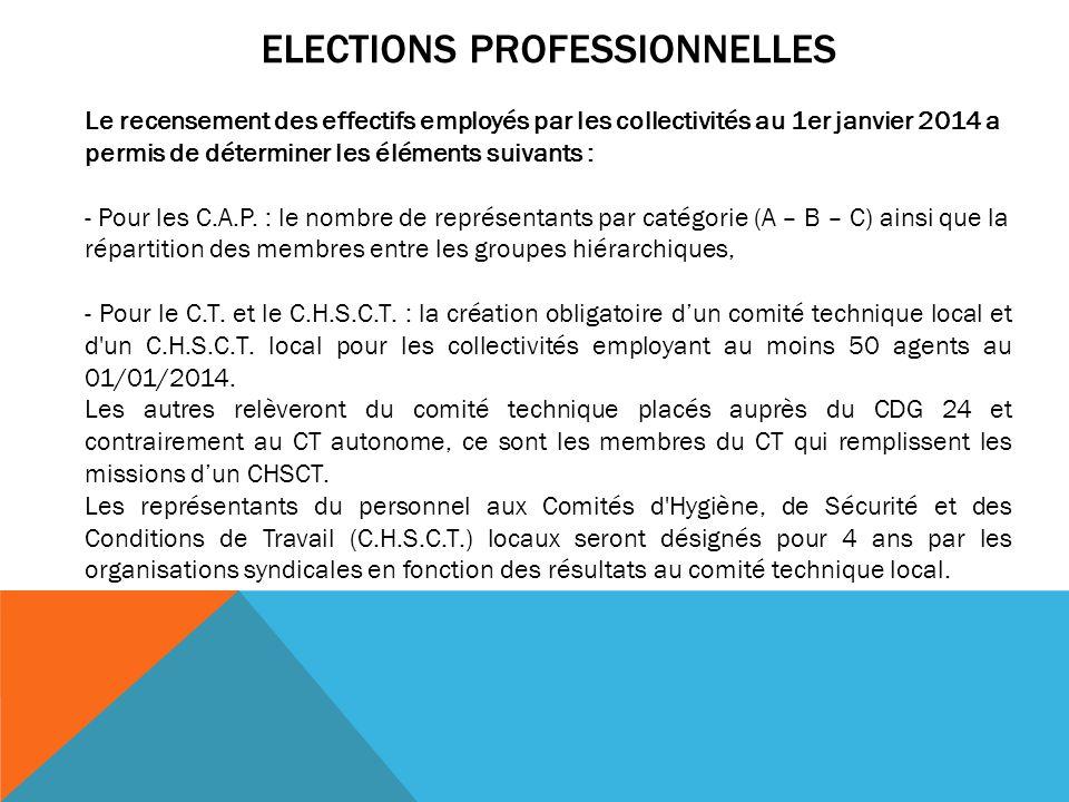 ELECTIONS PROFESSIONNELLES Le recensement des effectifs employés par les collectivités au 1er janvier 2014 a permis de déterminer les éléments suivant