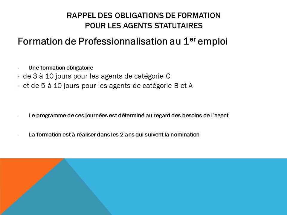 RAPPEL DES OBLIGATIONS DE FORMATION POUR LES AGENTS STATUTAIRES Formation de Professionnalisation au 1 er emploi -Une formation obligatoire -de 3 à 10