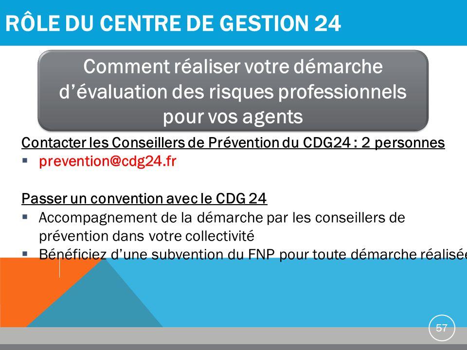 RÔLE DU CENTRE DE GESTION 24 57 Comment réaliser votre démarche d'évaluation des risques professionnels pour vos agents Contacter les Conseillers de P