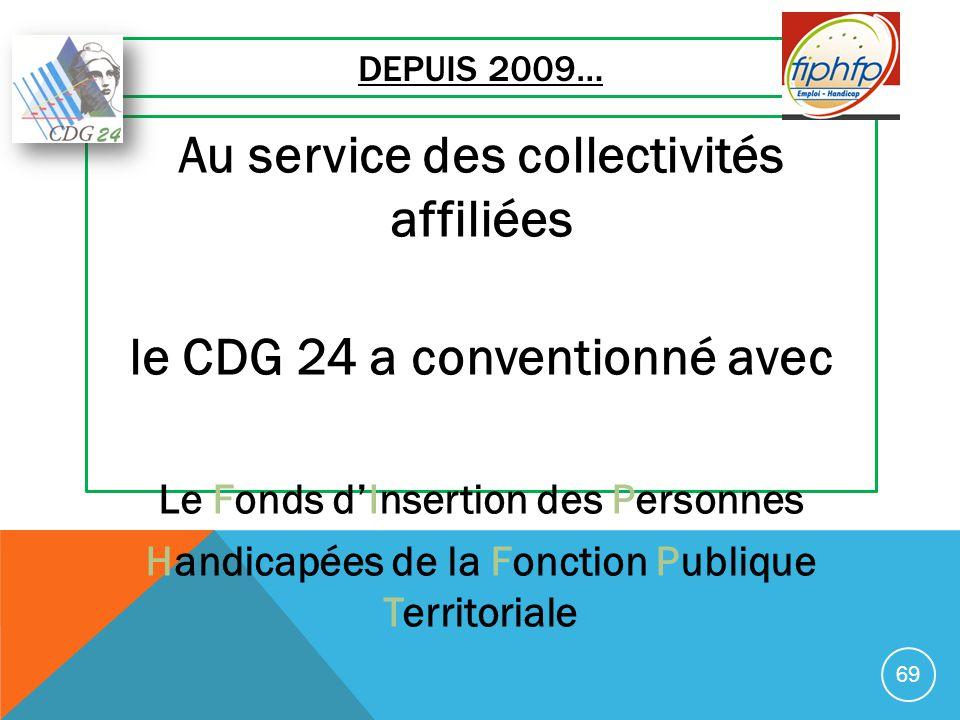 DEPUIS 2009… Au service des collectivités affiliées le CDG 24 a conventionné avec Le Fonds d'Insertion des Personnes Handicapées de la Fonction Publiq