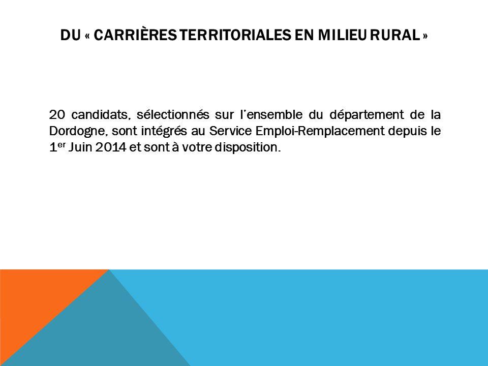 DU « CARRIÈRES TERRITORIALES EN MILIEU RURAL » 20 candidats, sélectionnés sur l'ensemble du département de la Dordogne, sont intégrés au Service Emplo