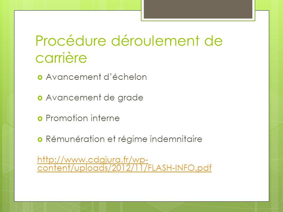 Procédure déroulement de carrière  Avancement d'échelon  Avancement de grade  Promotion interne  Rémunération et régime indemnitaire http://www.cd