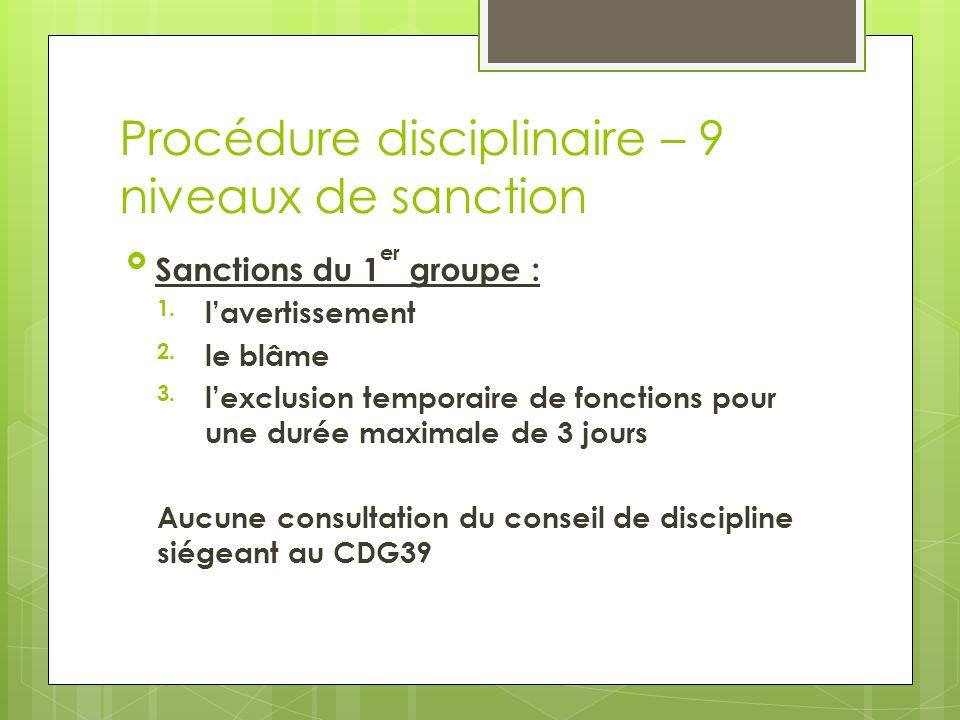 Procédure disciplinaire – 9 niveaux de sanction Sanctions du 1 er groupe : 1.l'avertissement 2.le blâme 3.l'exclusion temporaire de fonctions pour un