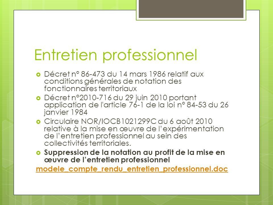 Entretien professionnel  Décret n° 86-473 du 14 mars 1986 relatif aux conditions générales de notation des fonctionnaires territoriaux  Décret n°201