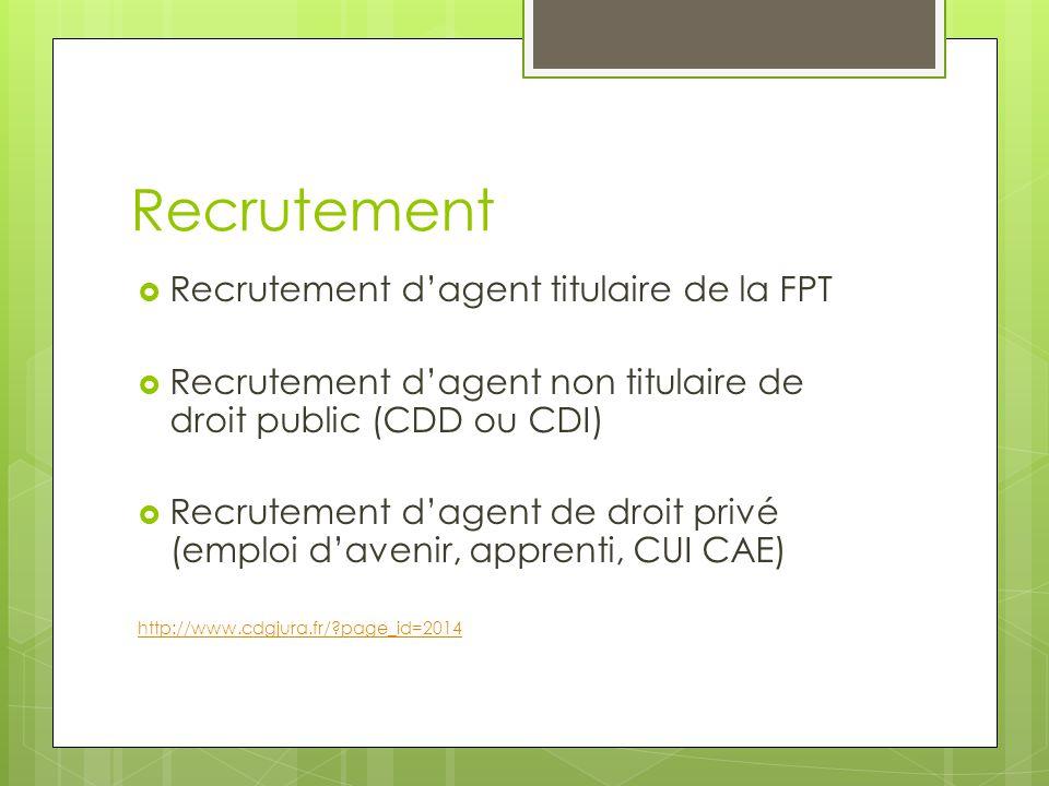 Recrutement  Recrutement d'agent titulaire de la FPT  Recrutement d'agent non titulaire de droit public (CDD ou CDI)  Recrutement d'agent de droit