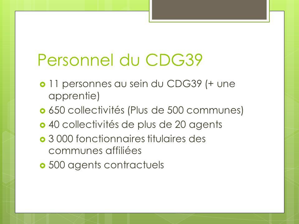 Personnel du CDG39  11 personnes au sein du CDG39 (+ une apprentie)  650 collectivités (Plus de 500 communes)  40 collectivités de plus de 20 agent