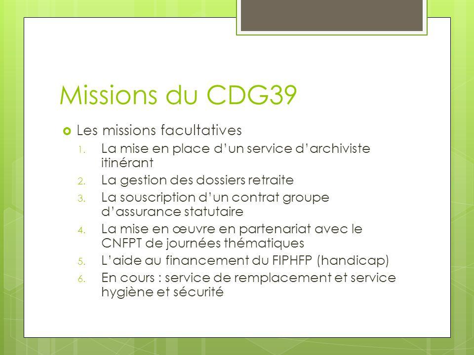 Missions du CDG39  Les missions facultatives 1. La mise en place d'un service d'archiviste itinérant 2. La gestion des dossiers retraite 3. La souscr