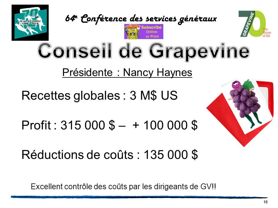 18 64 e Conférence des services généraux Présidente : Nancy Haynes Recettes globales : 3 M$ US Profit : 315 000 $ – + 100 000 $ Réductions de coûts : 135 000 $ Excellent contrôle des coûts par les dirigeants de GV!!