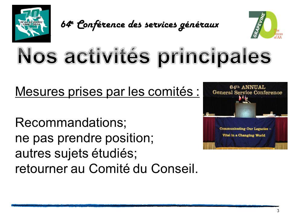 14 64 e Conférence des services généraux Inscription de 9 h 00 à 9 h 45; on nous remet une pochette accordéon et le cartable comprend l'ordre du jour, divers documents et notre cocarde d'identification.